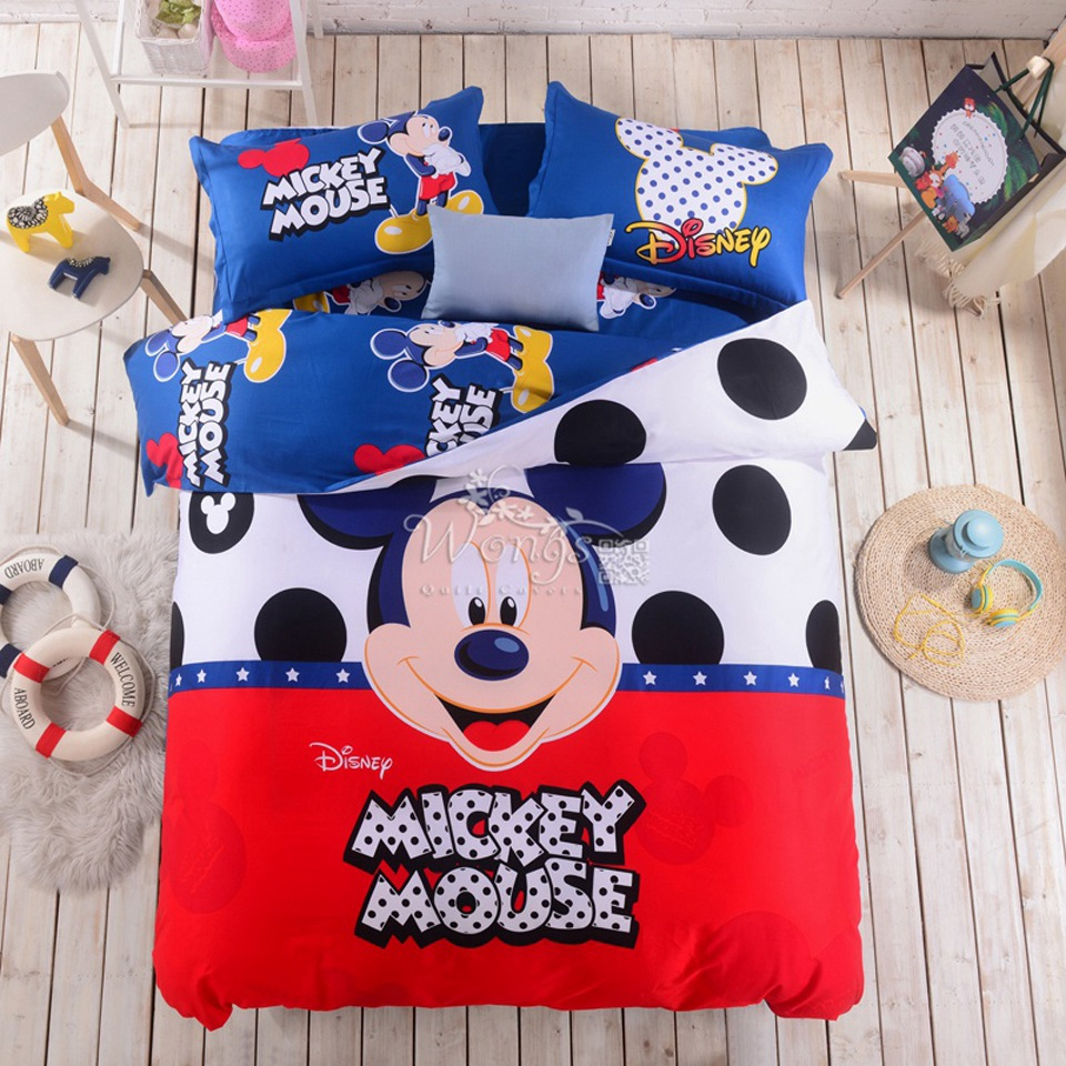 100 Cotton Bed Linen Mickey And Minnie Kids Mouse Bedding