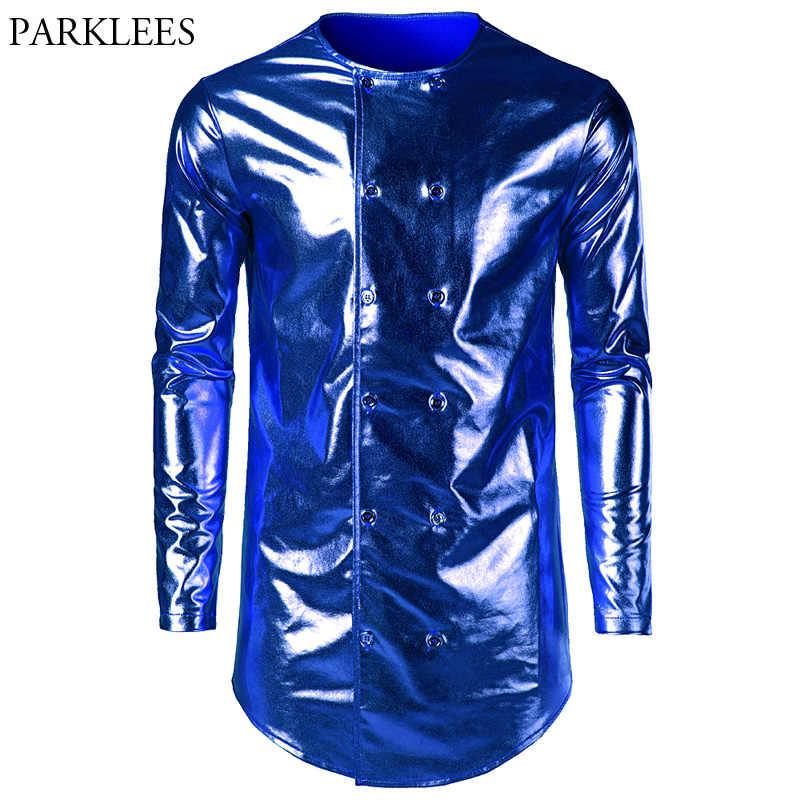 Hommes Hipster Longline t-shirt 2018 tout nouveau bleu brillant enduit métallique boîte de nuit t-shirt de bal hommes Slim Fit à manches longues hauts t-shirt