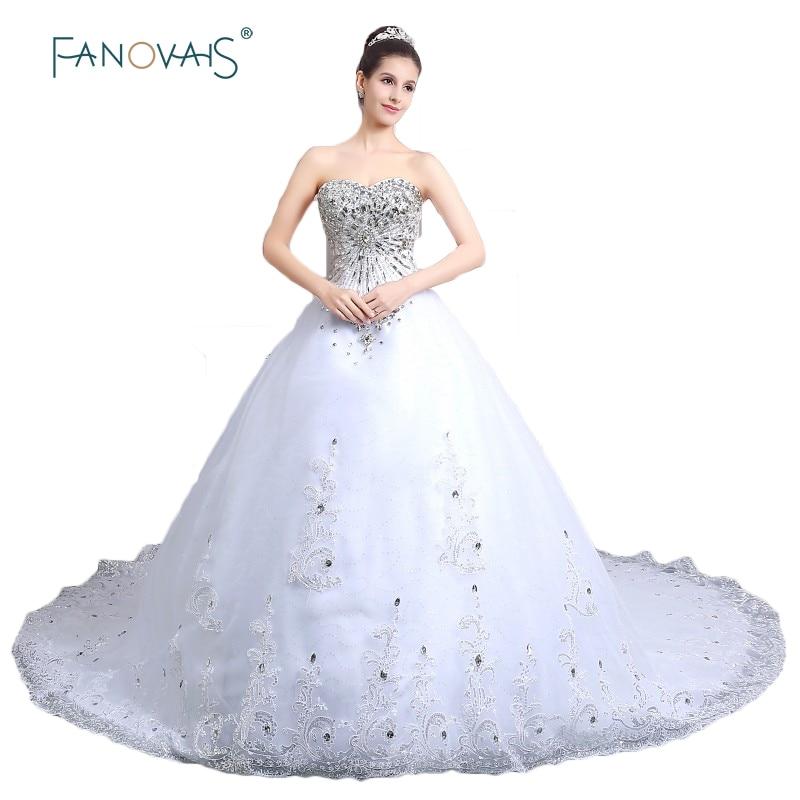 Glitter Wedding Gowns: Ball Gown Luxury Princess Wedding Dress 2019 Glitter