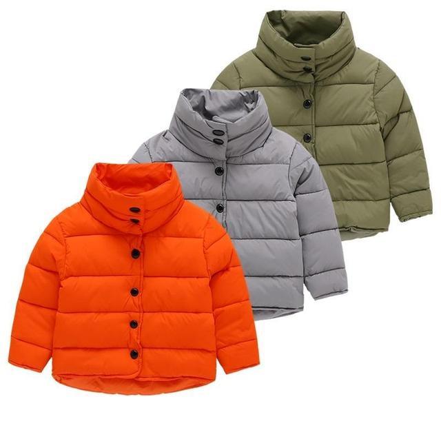 2016 niños del invierno de algodón acolchado Parkas ropa, baby girls & boys cuello alto chaquetas de la capa, niños abrigos outwears 3-9 Años