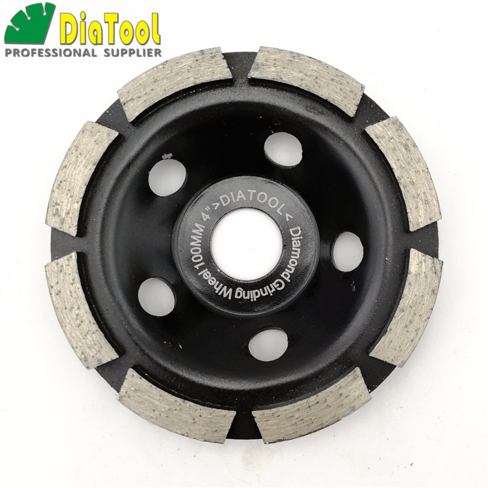Diatool 4 Diamond Grinding Disc Single Row Cup Wheel For Abrasive Material #30/40 Coarse Fast Working Tools