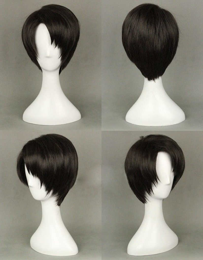 High Quality Anime Attack on Titan Levi Ackerman Rivaille Wigs Heat Resistant Synthetic Hair Cosplay Wig + Wig Cap