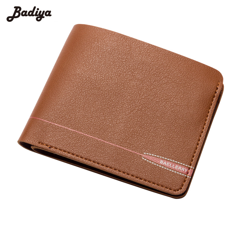 Solid PU Leather Vintage Mens Wallets Short Money Clips Cards Slots Soft Zipper Bifold Coins Pockets and Purses Male Walets
