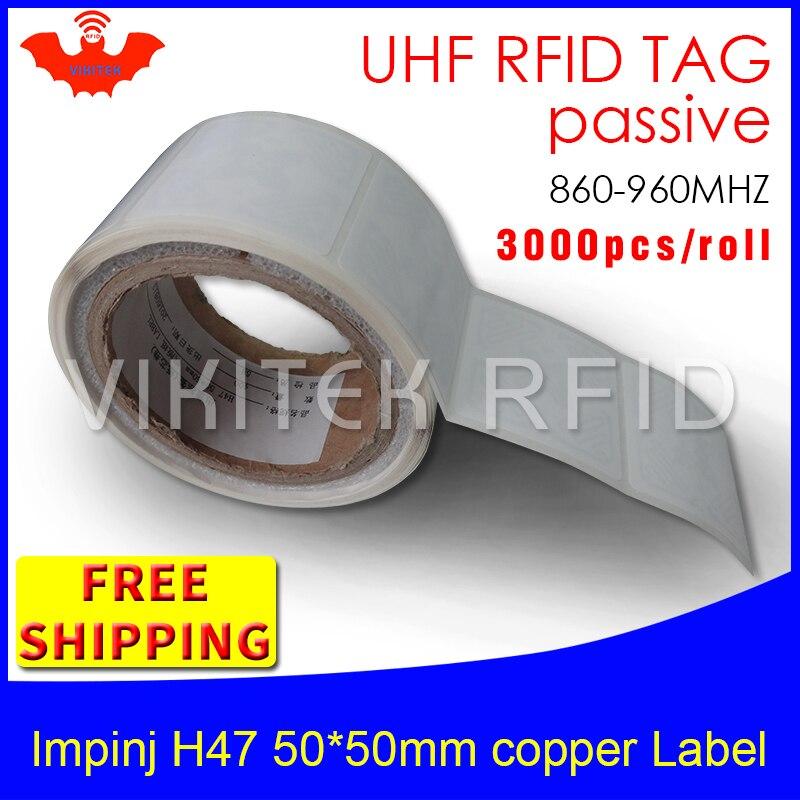 UHF RFID tag sticker Impinj H47 EPC6C printable copper label 860-960MHZ Higgs3 3000pcs free shipping adhesive passive RFID label rfid tag uhf sticker alien 9640 epc6c printable copper label 915mhz868m higgs3 2000pcs free shipping adhesive passive rfid label