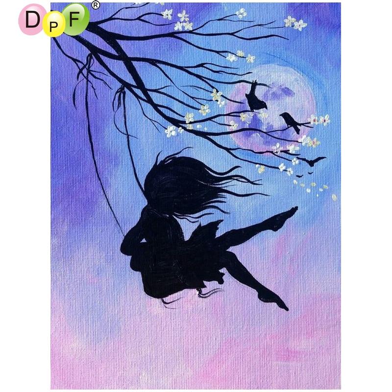 Dpf Little Girl Swings Swing Diamond Painting
