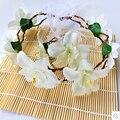 Venda de la flor de la corona de la flor del tocado pelo de la boda accesorios Floral corona boda de la guirnalda cabeza blanco flor de la corona