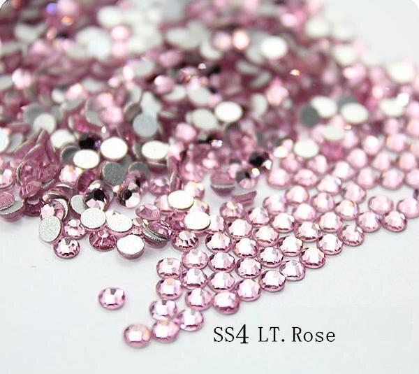 Calidad AAA Cristal SS4 LT. Rose Color Rosa 1440 unids Hotfix Rhinestones no 1.5-1.6mm Pegamento en Nail Art Piedras flatback
