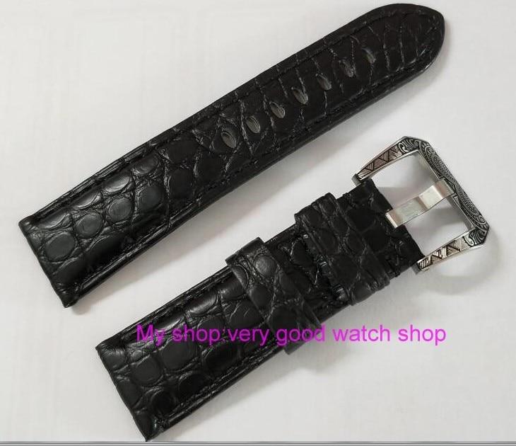 Bracelet de montre 24mm bracelet noir crocodile en cuir véritable motif de sculpture boucle de montre 44A