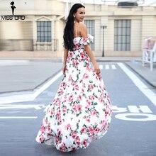 Missord 2019 Sexy V-Neck Flower Print Dress Off Shoulder Backless Short Sleeve Elegant two-split Dress  FT18423