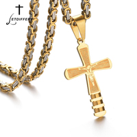 Letdiffery Inscriptions Crucifix Cross Necklace Stainless Steel Prayer Pendant Necklace Letter Cross For Religious Christian