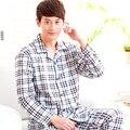 Бесплатная доставка мужской весной и осенью плед 100% хлопок пижамы 100% хлопок с длинными рукавами набор гостиная xxxl бренда Пижамы наборы