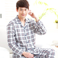 Free shipping male spring and autumn plaid 100% cotton sleepwear 100% cotton long-sleeve lounge set xxxl brand Pajama Sets