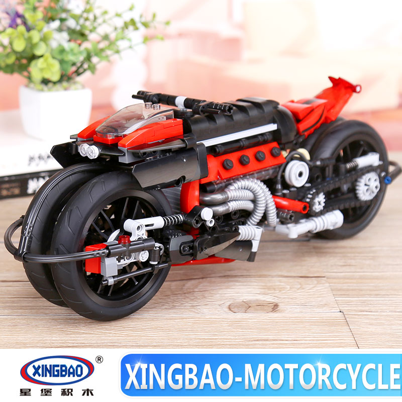 Xingbao 03021 680Pcs Technic Series The Off-road Motorcycle Set Building Blocks Bricks legoinglys Educational Toys Model Gift 32 32 dots plastic bricks the island straight crossroad curve green meadow road plate building blocks parts bricks toys diy