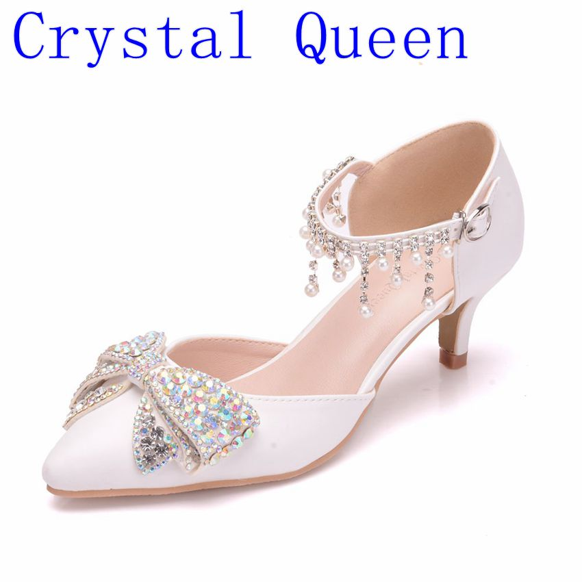 Crystal Queen Women Sandals Sexy White 5CM High Heels Shoes Bow Luxury Rhinestone Tassels Wedding Party Mary Jane Shoes