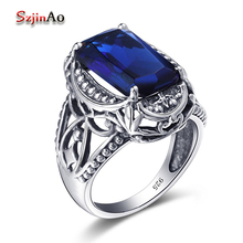 Szjinao Finger Flower Ring Sapphire 925 Sterling Silver Jewelry wholesale Carving Boho Vintage Square Wedding Rings