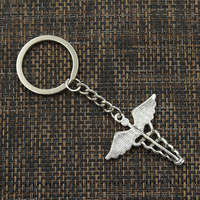 Fashion 30mm Key Ring Metal Key Chain Keychain Jewelry Antique Silver Bronze Plated caduceus medical symbol md 40x40mm Pendant 3