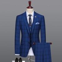 Мужской костюм темно синяя клетчатая деловая мужская одежда жениха День отца подарок мужские костюмы с брюками жилет свадебные костюмы для