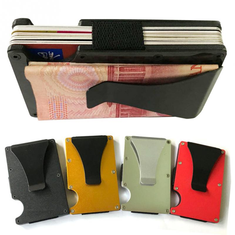Male Purses Card Case Wallet Metal Case Aluminium Ultra-thin Protector Money Clip(China)