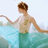 LYNETTE S CHINOISERIE Summer Original Design Women High Quality Women Handmade Beading Patchwork Peacock Blue Vintage