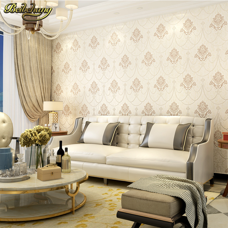 beibehang papel de parede 3D Simple European Relief Damask Wallpaper beige Wall Paper For Living Room wallpaper-3d  home decor beibehang papel de parede 3d dimensional relief korean garden flower bedroom wallpaper shop for living room backdrop wall paper