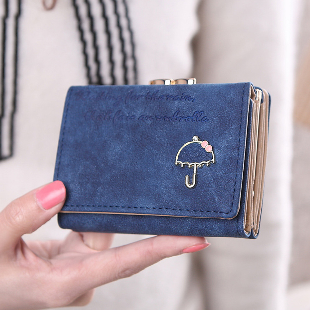 Купить с кэшбэком 4 Color Fashion Folded Hasp Women Wallets Small Frosted Women's Purse Short PU Leather Ladies Wallet Card Holder