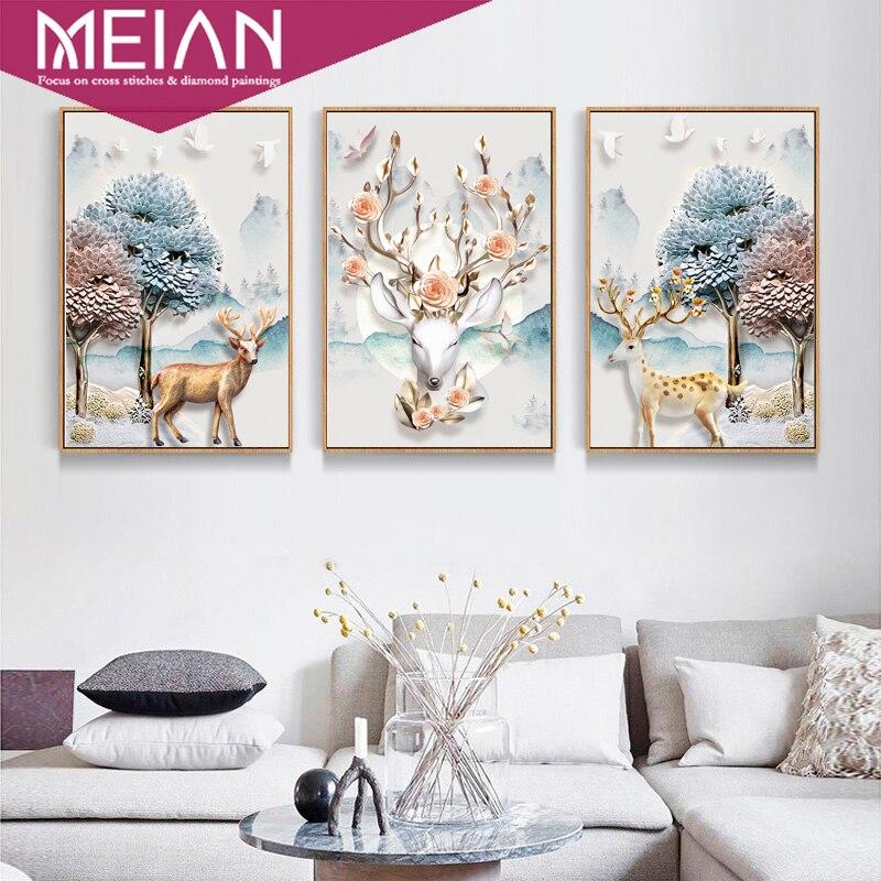 Meian, DIY, алмазная живопись, специальный, Лось и дерево 3/5D алмазная вышивка, полный, вышивка крестом, Алмазная мозаика, картина из бисера, дома...