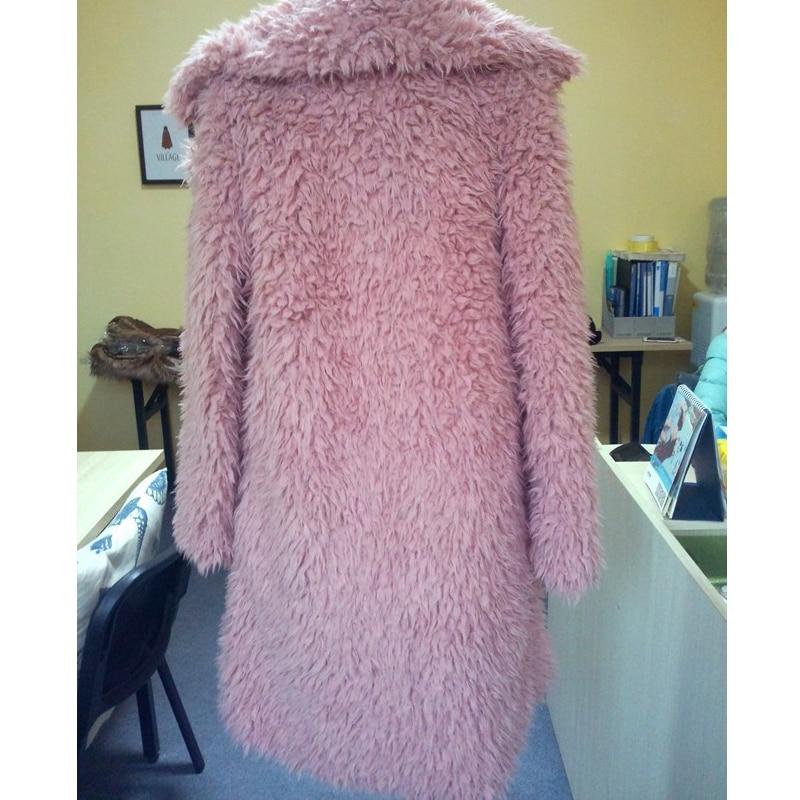 JOGTUME Faux Fur Coat 2017 Autumn Winter Womens Cotton Parkas Lapel Long Jackets Ladies Fashion Warm Furry Coats Pink Black Grey in Parkas from Women 39 s Clothing