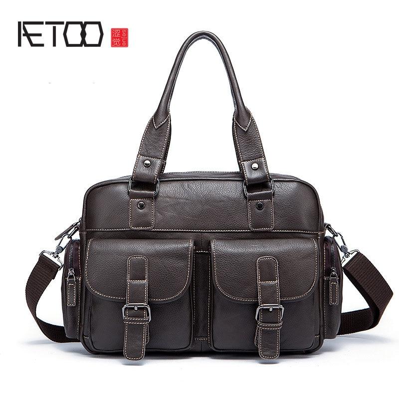 AETOO Leather men bag retro business soft men's handbag head layer cowhide men's shoulder bag
