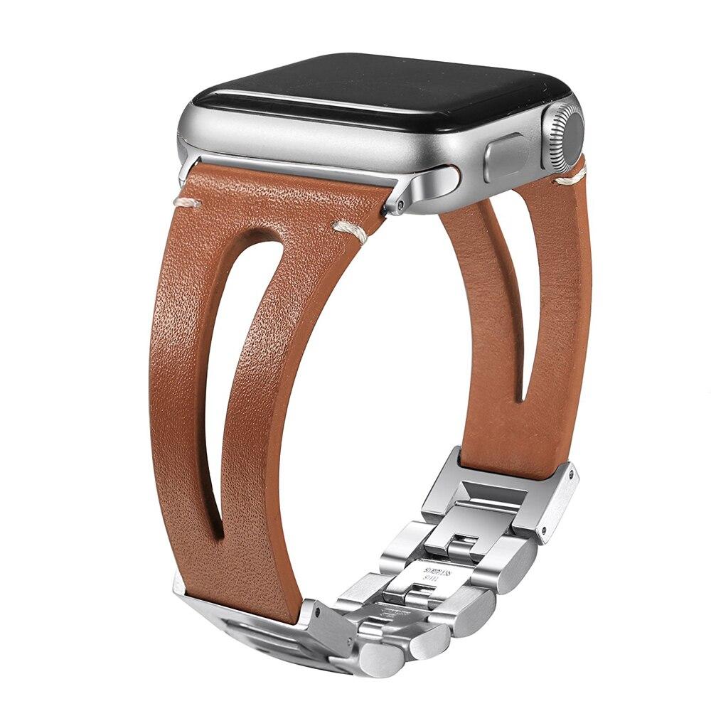 Cinturino in vera pelle Per Apple watch band 4 44 millimetri/40 millimetri iwatch fascia 3 42 millimetri/38 millimetri vigilanza del braccialetto correa cintura cinturino fibbia in metallo
