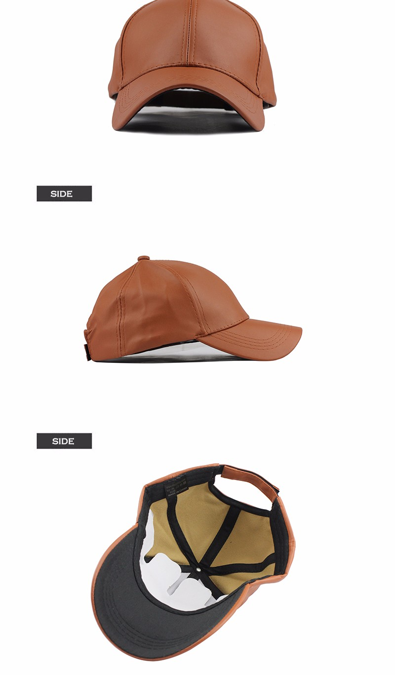 FETSBUY New High Quality Leather Cap Biker Trucker Caps PU Solid Color HIP HOP Snapback Baseball Cap Fitted Adjustable Hat 2017 12