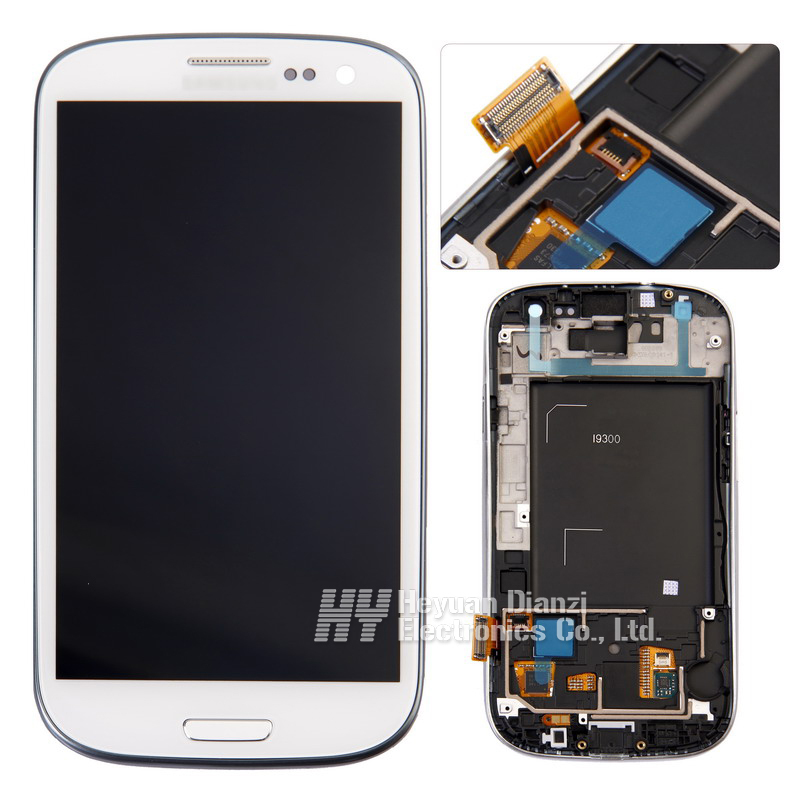 Wholesale Replacement For Samsung Galaxy S3 i9300 i747 L710 LCD Display Touch Screen Digitizer with frame