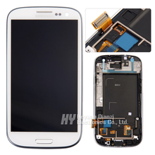 Wholesale Replacement For Samsung Galaxy S3 i9300 i747 L710 LCD Display Touch Screen Digitizer with frame Assembly  freeshipping