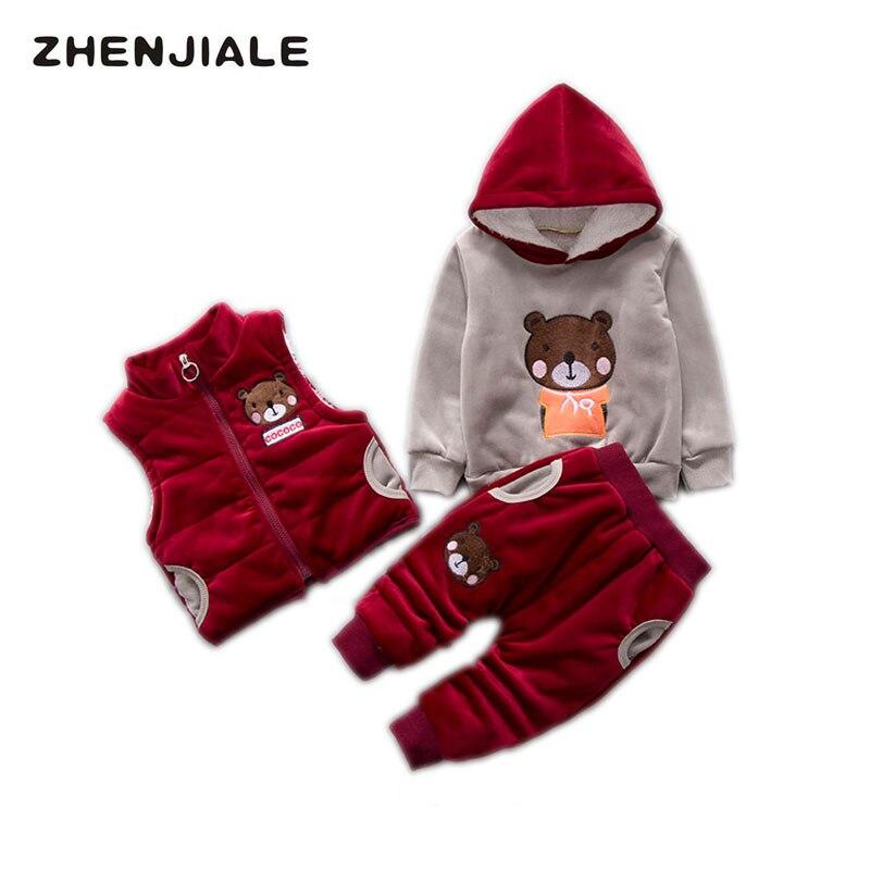 купить kids Winter Clothes Autumn Winter Boys Sets Fashion Baby Girls Thick Hoodies Vest+Pants+Sweatshirt 3pcs Little Girls Clothing по цене 2950.08 рублей