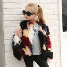 kids fur coat  baby girl checked jackets girls winter clothes