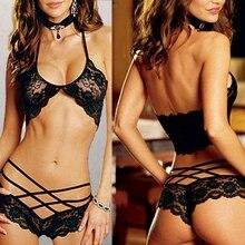 Женский сексуальный ажурный кружевной топ-бюстгальтер+ трусики-крестики, комплект нижнего белья