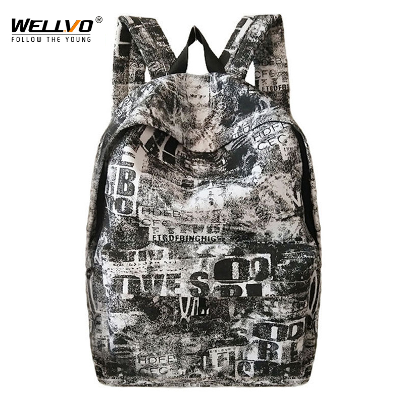 Graffiti Backpack Letters Printing Men Canvas Laptop Backpacks Teenage Boys Large School Bag Women Travel Bags mochila XA2019C
