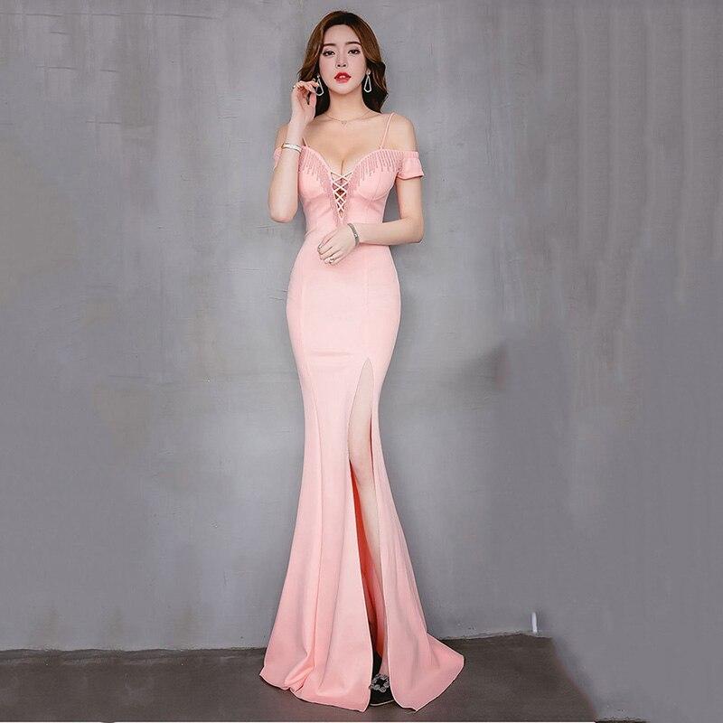 Corzzet Sexy croix Bandage épaule dénudée col profond robe de soirée rose perles coton fente demoiselles d'honneur élégante sirène mince robe