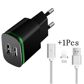 Essien Mobile Phone Charger 5V 2.1A EU Plug USB adapter Wall 2 USB Charger& Magnetic iOS travel Cable for iPhone 5 6 7 iPad 2in1 Зарядное устройство