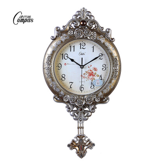 European Mute wall clock fashion quartz clock swing luxury watches and clocks sitting room creative quartz clock