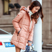 New Winter Jacket Women Long Slim Coat Female Down Cotton Clothing Thicken Parka Plus Size Hooded Jackets Casual Outwear SY280-1