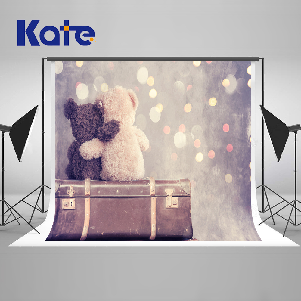Kate Children Hugging Each Other Bears Valentine's Day Photography Background Color Aura Vintage Suitcase Wedding Backdrops
