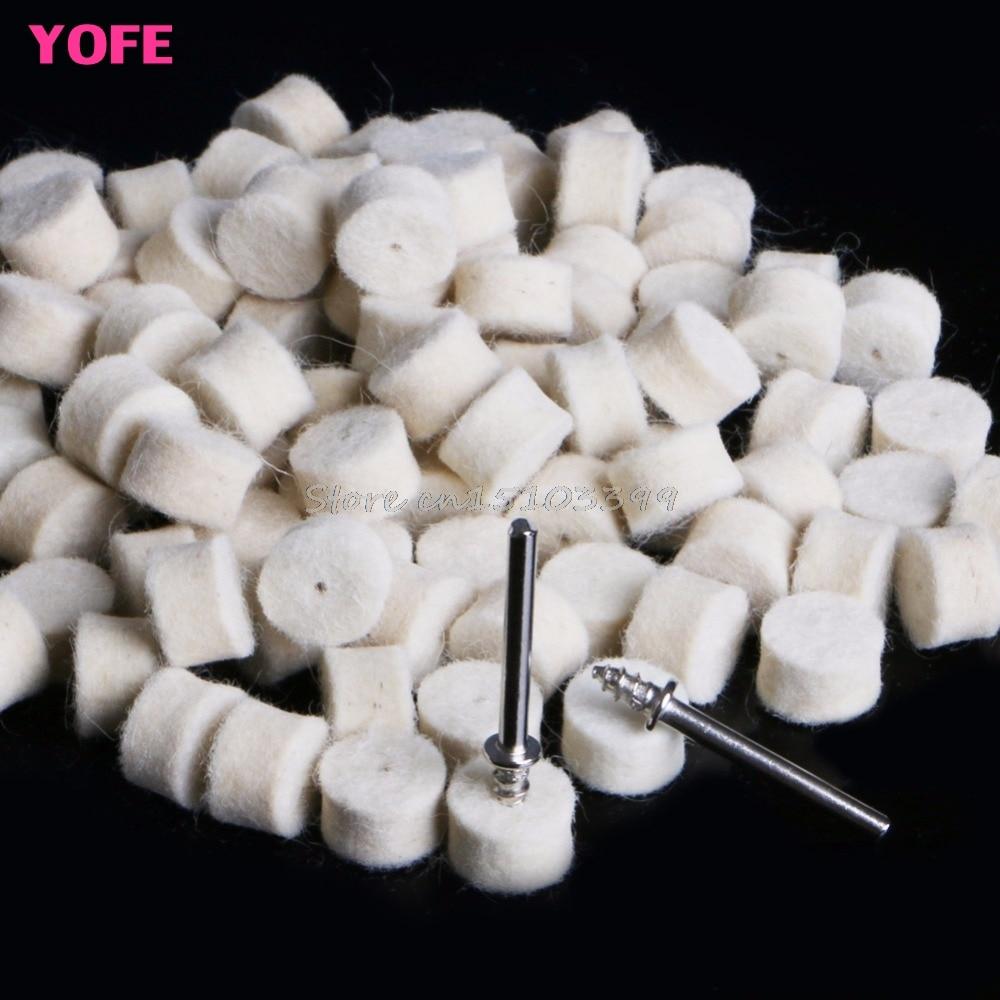 Pad di lucidatura in feltro di lana 100Pcs 13mm + 2 gambo per mola - Utensili abrasivi - Fotografia 4