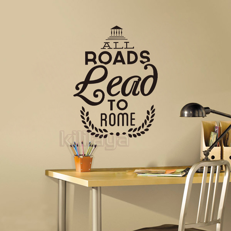 All Roads Lead to Rome Italy Vinyl Wall Stickers Wall Decal Wallpaper for Living Room Mural Wall Art Home Decor House Decoration