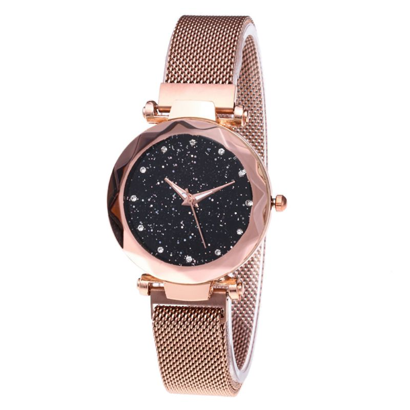 Fashion Stainless Steel Bracelet Prismatic Glass Scale Starry Mesh Magnet Buckle Diamond Geometric Surface Quartz Wristwatch