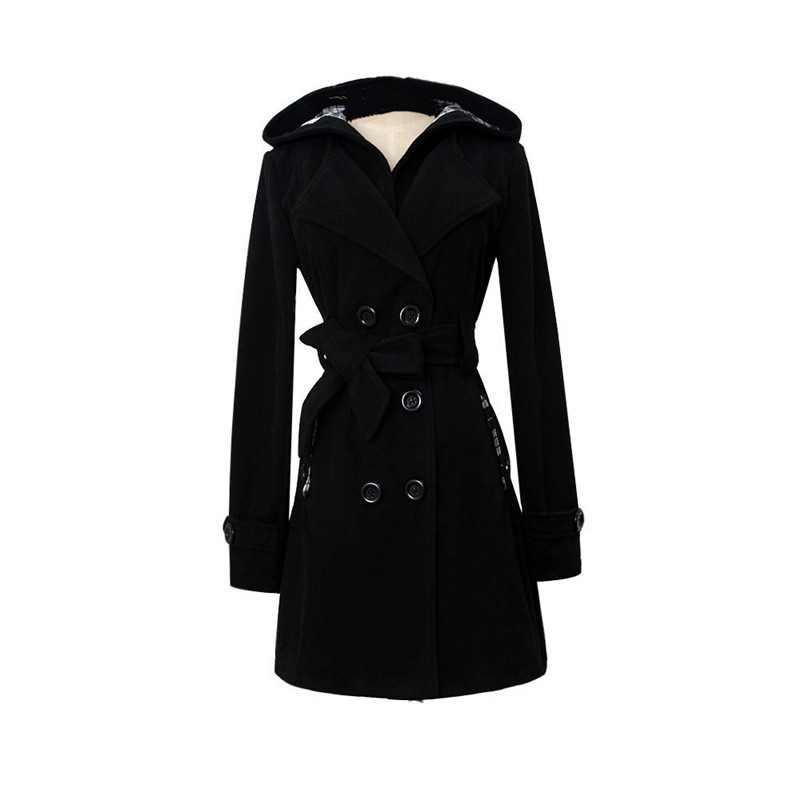 font b Women b font Lapel Double breasted Thick Wool Coat Jacket Outwear free shipping
