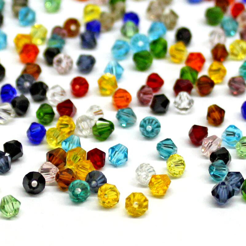 100 Faceted Rondelle Crystal Two Colour Solid Glass Beads 3x4mm