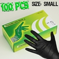 100PCS Medical Gloves Disposable Black Nitrile Tattoo Gloves For Tattoo Supplies Small Size Free Shipping TA-206-S