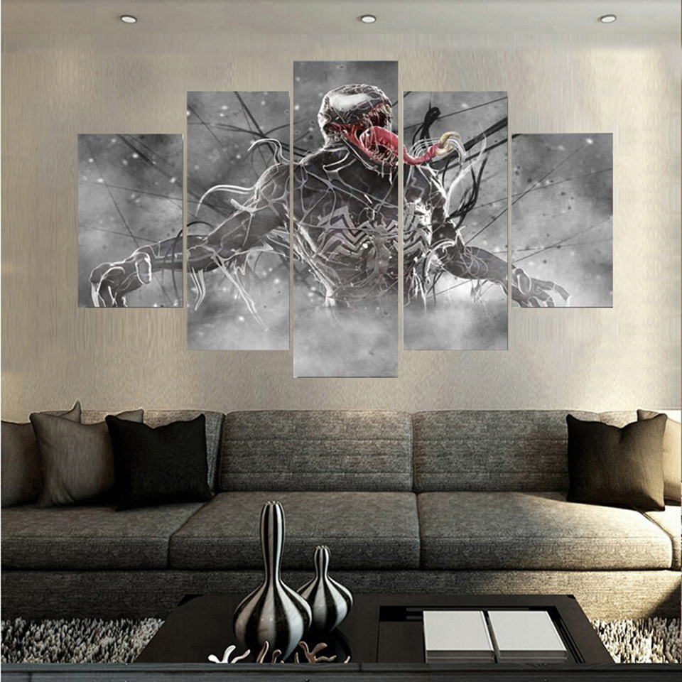Wall Art Poster Home Decoration Modern 5 Panel Venom