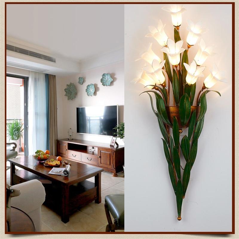 Glass Flowers Green Leaves Wall Lamps European Garden ...