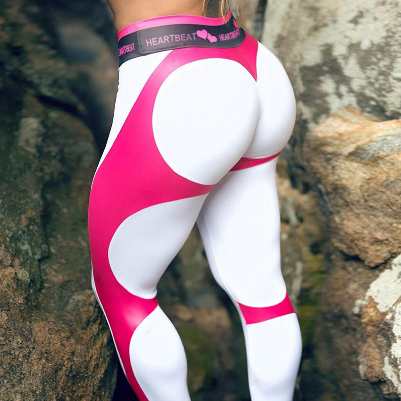 SVOKOR High Waist  Fitness Legging Women Heartbeat Print Fashion Push Up Sexy Ankle-Length Pants Elasticity Leggings Women 1
